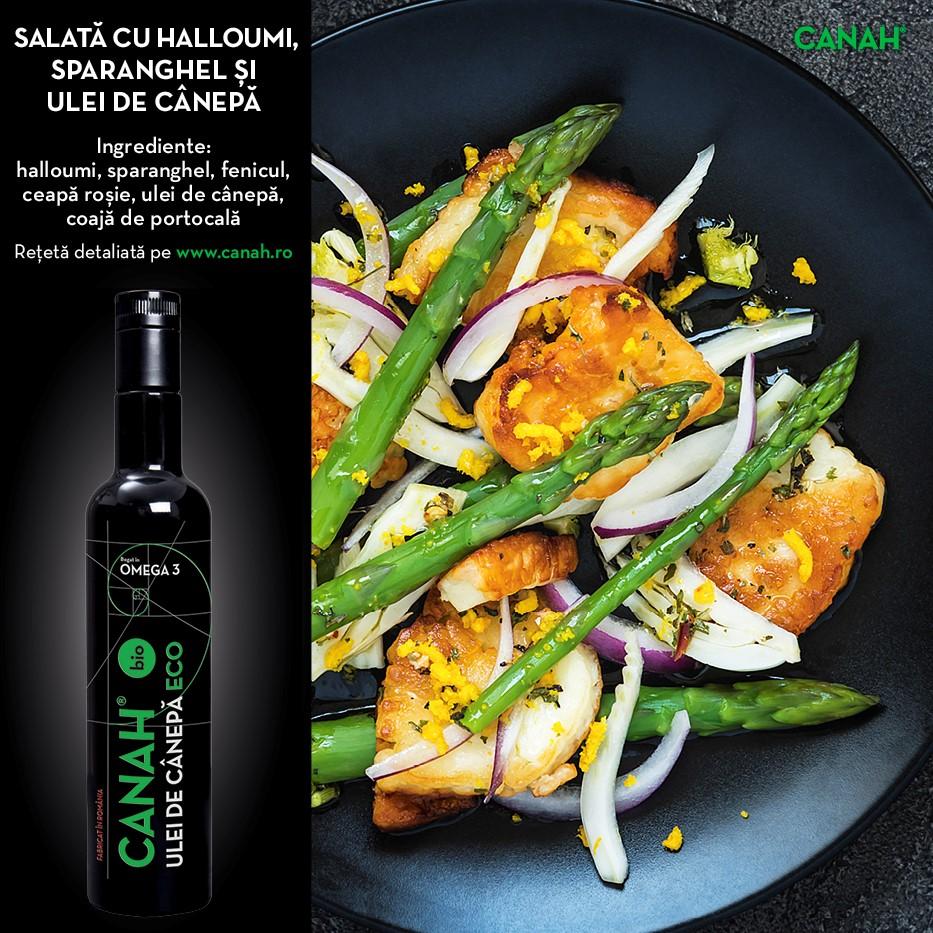 Salată cu Halloumi, sparanghel și Ulei din semințe de Cânepă