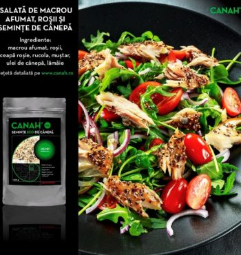 Salată de Macrou afumat, roșii și semințe de cânepă